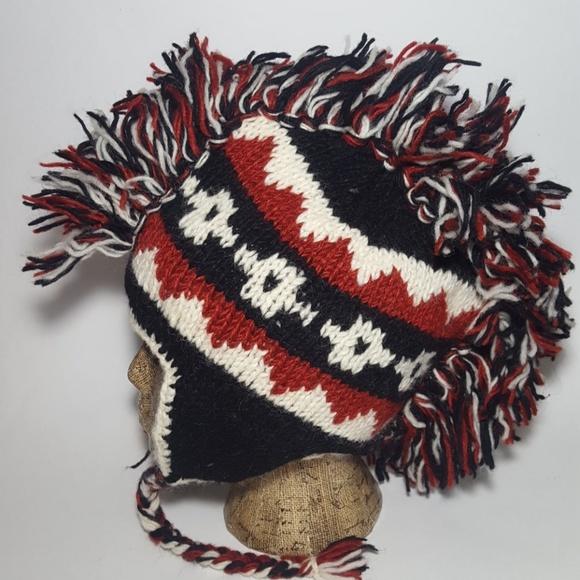 100% Nepal Wool Other - Vintage 100% Nepal Wool Mohawk Winter Beanie Hat e32e743b7280